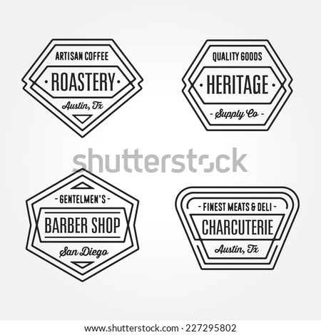 Set of retro monochrome geometric badge logo design templates with vintage feeling for ��° wide variety of businesses - stock vector