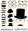 Set of retro mustaches hats glasses - stock photo