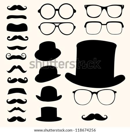 Set of retro mustaches hats glasses - stock vector