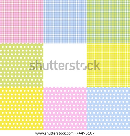 Set of 8 retro pastel seamless (squares and circles) eps10 - stock vector