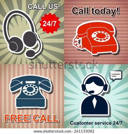 Set of retro phone banners on a vintage background  - stock vector
