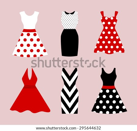 Set of 6 retro pinup cute woman dresses. Short and long elegant black, red and white color polka dot design lady dress collection. Vector art image illustration, isolated on background - stock vector