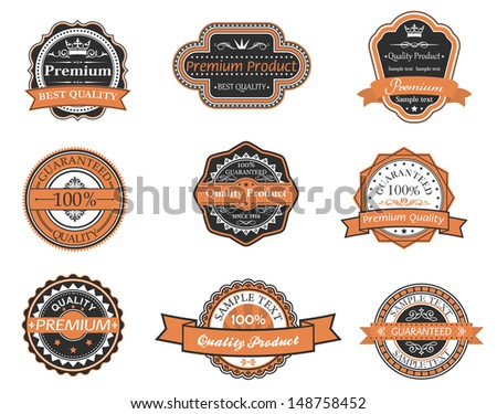 Set of retro premium labels for design and embellish. Jpeg version also available in gallery - stock vector
