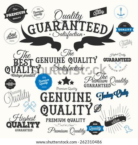 Set Of  Retro Premium Quality Calligraphic Labels - stock vector