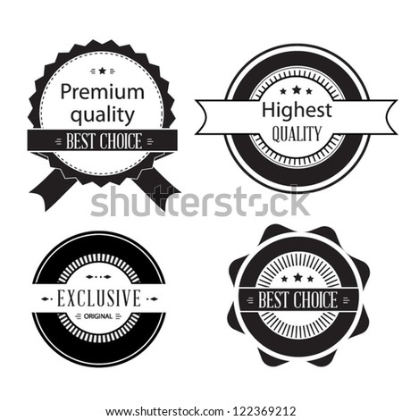 Set of retro ribbons and labels. Vector illustration. Black and white collection of Premium Quality and Guarantee Labels