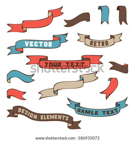 Set of retro ribbons. Hand-drawn ribbons isolated on white background. Vector illustration. There is place for your text. - stock vector