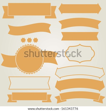 Set of retro ribbons (vector illustration) - stock vector