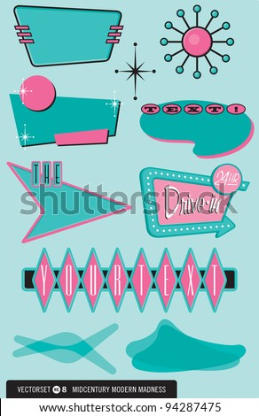 Set of 10 retro, 1950's-style vector elements for posters, labels, menus, and more! Drop in your text and go, daddi-o! - stock vector