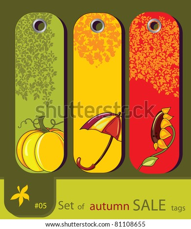 Set of retro sale nature autumn tags with sunflower, umbrella, pumpkin. Set # 5 (See more  in my gallery)