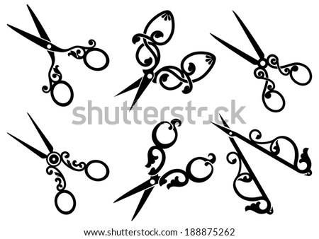 Set of retro scissors. - stock vector