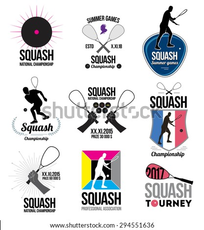 Set of retro squash logos, emblems and design elements. Icons rackets and athletes. Emblem squash Championships. - stock vector