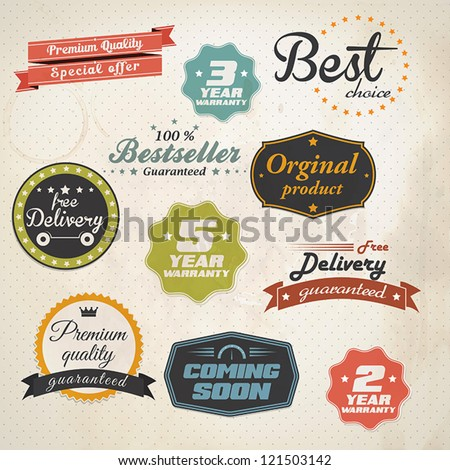 Set of retro stickers and labels. Vector - stock vector