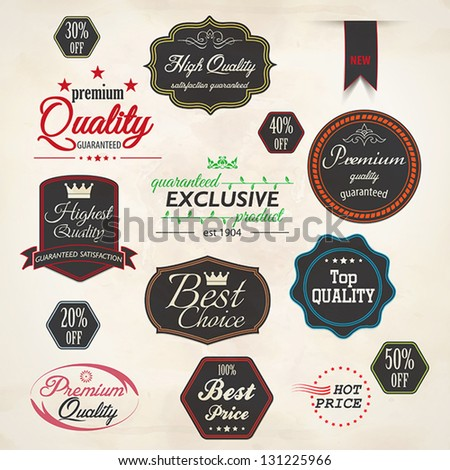 Set of retro stickers and labels. Vector