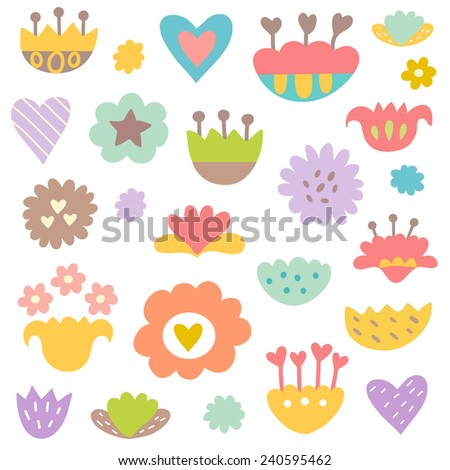 Set of retro style decorative flowers. Great for greeting cards, Easter, thanksgiving, scrap booking. Vector - stock vector