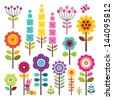 Set of retro style flowers and insects in bright colors. Includes caterpillar and butterfly. Isolated on white for greeting cards, Easter, thanksgiving, scrap booking. See my folio for other colors. - stock vector