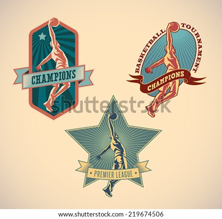 Set of retro styled basketball tournament labels. Editable vector illustration. - stock vector