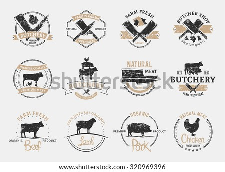 Set of retro styled butchery logo templates. Butchery labels with sample text. Butchery design elements and farm animals silhouettes for groceries, meat stores, packaging and advertising. - stock vector