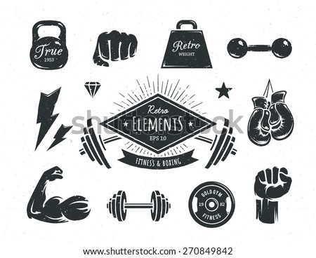 Set of retro styled fitness design elements. Vintage gym and boxing attributes. Vector illustrations. - stock vector