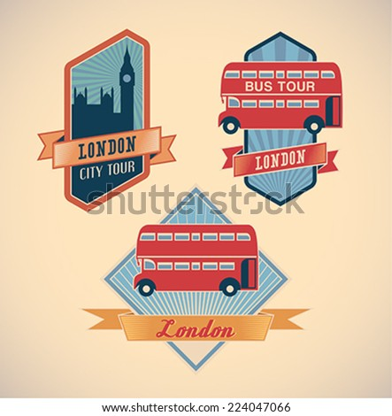 Set of retro-styled London city tour labels. Editable vector illustration. - stock vector