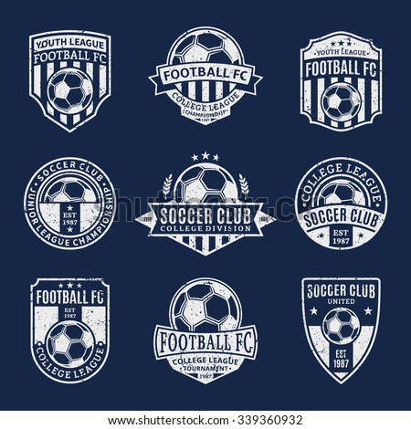 Set of retro styled soccer football club logo templates. Soccer football labels with sample text. Soccer Football icons for sport tournaments and organizations. Sport team identity. - stock vector