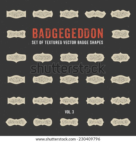 Set of retro textured with grunge effect vector badge shapes, collection of design elements for creating retro logos with that vintage touch (volume 3) - stock vector