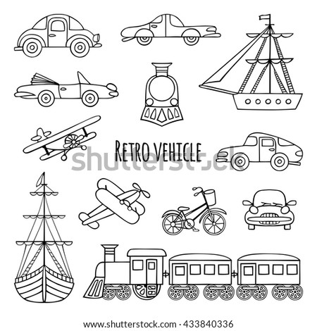 Set of retro transport. Black-and-white drawings by hand. Cars, locomotive, sailboat, plane, bicycle. - stock vector