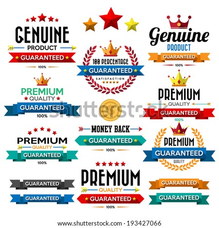 set of retro vintage badges and labels. Flat design with long shadow .eps10  - stock vector