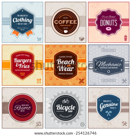 Set of retro vintage badges and labels with backgrounds - stock vector