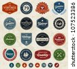 Set of retro vintage badges and labels with texture - stock photo