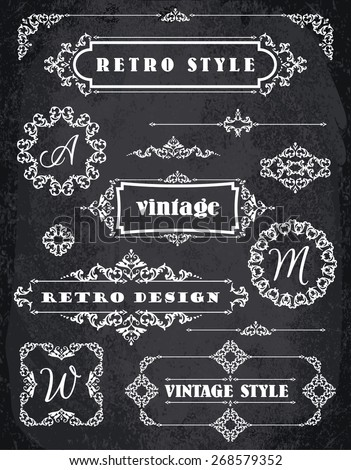 Set of Retro Vintage Badges, Frames, Labels and Borders. Design elements. Chalk Board Background - stock vector