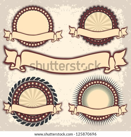 Set of Retro Vintage badges, template. Vector illustration EPS10 - stock vector