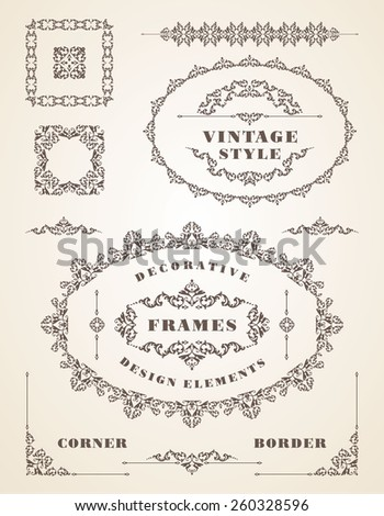 Set of Retro Vintage Frames and Borders. Design elements.  - stock vector