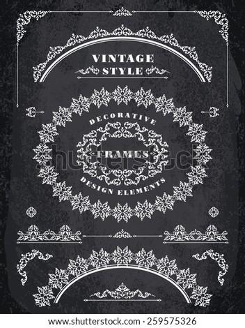 Set of Retro Vintage Frames and Borders. Design elements. Chalk Board Background - stock vector