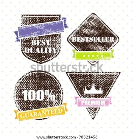 set of retro vintage grunge labels - stock vector