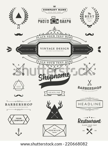 Set of Retro Vintage Insignias and Logotypes. Business Signs, Logos, Identity Elements, Labels, Badges, Frames, Borders and Floral Design Elements. Instagram Art Style - stock vector