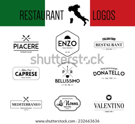 Set of retro vintage italian restaurant, bar, mediterranean food labels, badges logo template. Hipster style design, logotype, brand, branding, company, corporate, identity, business. Clean and modern - stock vector