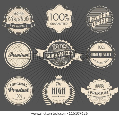 Set of retro vintage styled Premium Quality and Guarantee Labels and sticker - stock vector