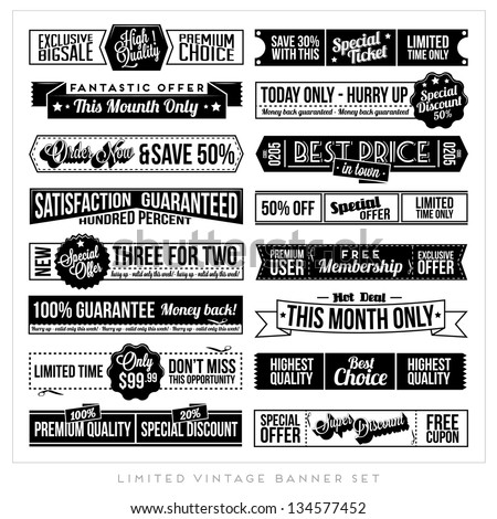 Set of Retro Vintage Typographic Business Banner Design Set for Web or Print - stock vector
