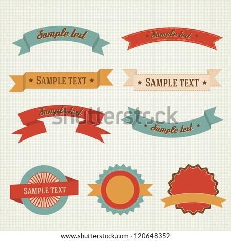 Set of retro vintage vector labels - stock vector