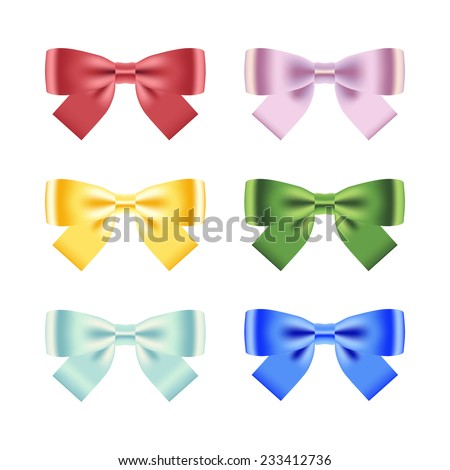 Set of ribbon bows isolated on white. Vector illustration - stock vector
