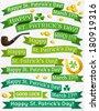 Set of ribbon for St. Patrick's Day, vector illustration - stock