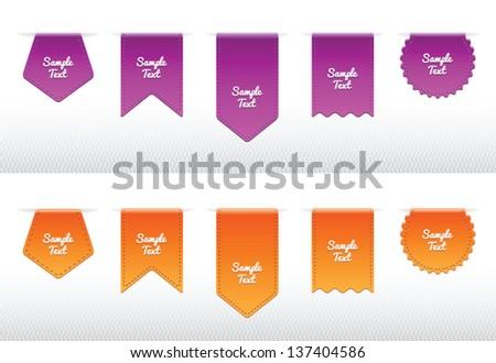 Set of Ribbon Icons, purple and orange design - stock vector