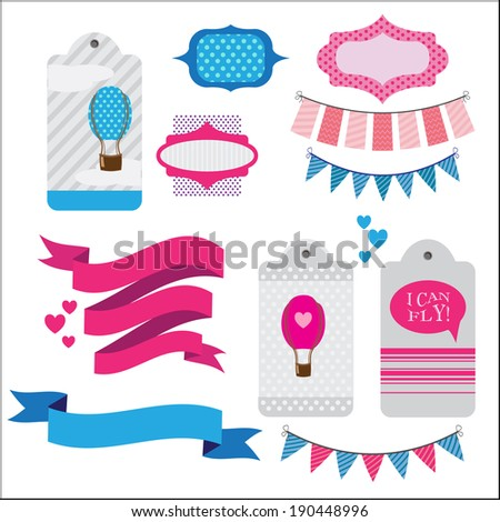 set of ribbons and memory cards for scrapbooking - stock vector