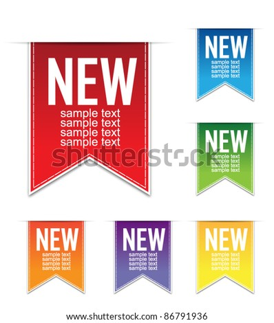 Set of ribbons labels - stock vector
