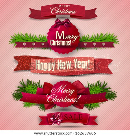 "Set of  Ribbons, Labels, Tags ""Merry Christmas and Happy New Year !"""
