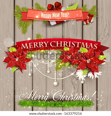 "Set of  Ribbons, Labels, Tags ""Merry Christmas and Happy New Year !"" - stock vector"