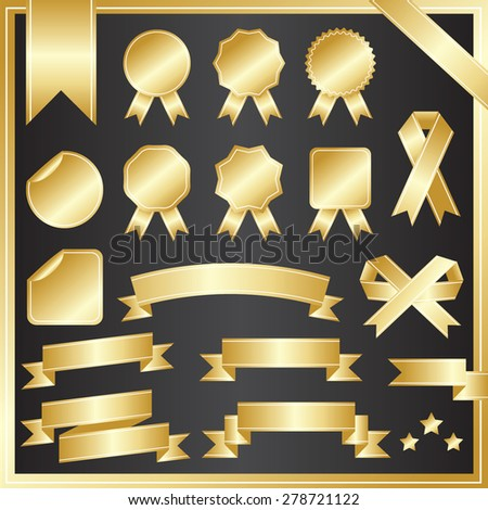 SET OF RIBBONS VECTOR : GOLD - stock vector