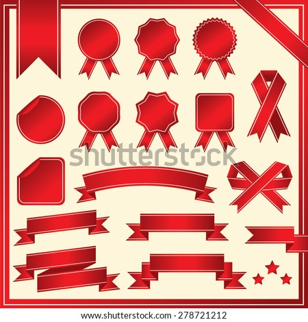 SET OF RIBBONS VECTOR : RED - stock vector