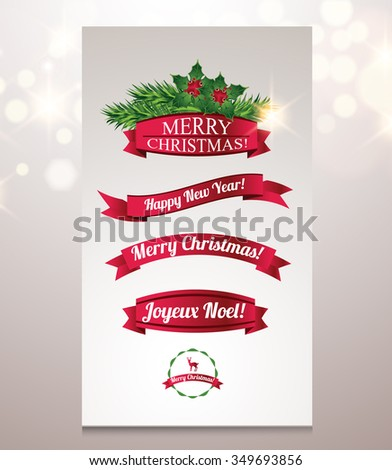 Set of Ribbons with Merry Christmas and Happy New Year text - stock vector