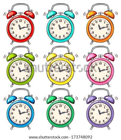 Set of ringing alarm clock - stock vector